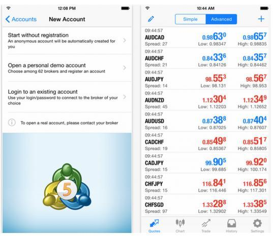 MetaQuotes updates its MT5 application for iOS devices